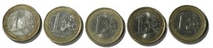 Five 1 Euro Coins